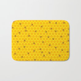 Mind Your Own Beeswax / Bright honeycomb and bee pattern Bath Mat