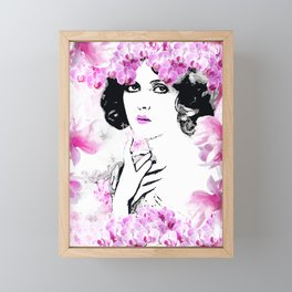 CLARA WOMAN PINK ORCHIDS AND MAGNOLIAS Framed Mini Art Print