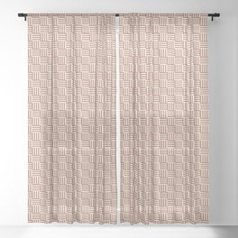 Cavern Clay SW 7701 and Creamy Off White SW7012 Grid Tessellation Stripe Lines Weave Pattern Sheer Curtain