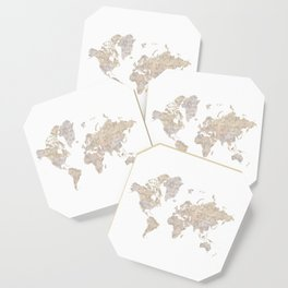 """World map in gray and brown watercolor """"Abey"""" Coaster"""