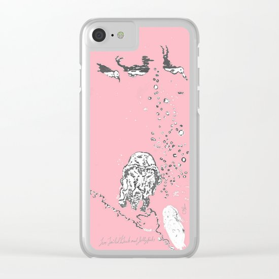 Two Tailed Duck and Jellyfish Baby Pink Deep Clear iPhone Case