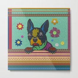 Boston Terrier Fun Scrapbook style fabric composition Metal Print