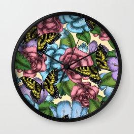 Flowers and Butterflies Design - Janelle Dimmett Wall Clock