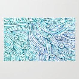 pattern of blue curls, waves, watercolor ink drawing Rug