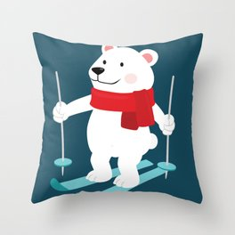 Lets Go Skiing with Mr Polar Bear this Merry Christmas Throw Pillow