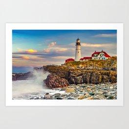 Portland Head Lighthouse At Sunset With Crashing Waves Art Print