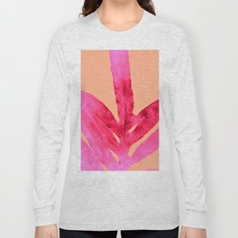 Peach Pink Ferns, Living Coral Long Sleeve T-shirt