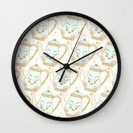 Tea Time Yellow Cream Wall Clock