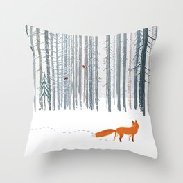 Fox in the white snow winter forest illustration Throw Pillow