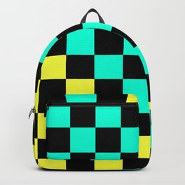 Black, Aqua, & Yellow Checkerboard Pattern Backpack