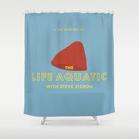 steve zissou Shower Curtains featuring The Life Aquatic with Steve Zissou Beanie Poster by She's That Wallflower