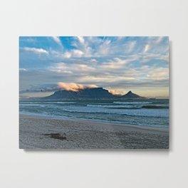 Table Mountain Cape Town Sea Beach, South Africa Metal Print