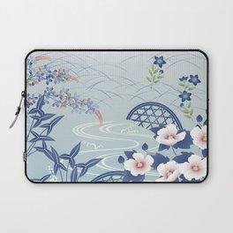 Elegant Light Blue Japanese Flower Garden Laptop Sleeve