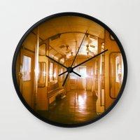 train Wall Clocks featuring Train  by Raquel Belloch