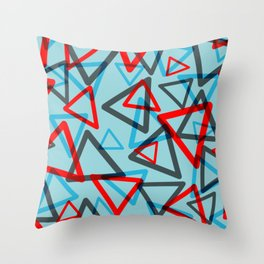 Eighties Triangles in Blue and Red Throw Pillow