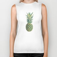 pineapple Biker Tanks featuring Pineapple by Cassia Beck