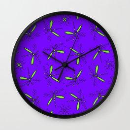 Green Dragonflies On Purple Back Wall Clock