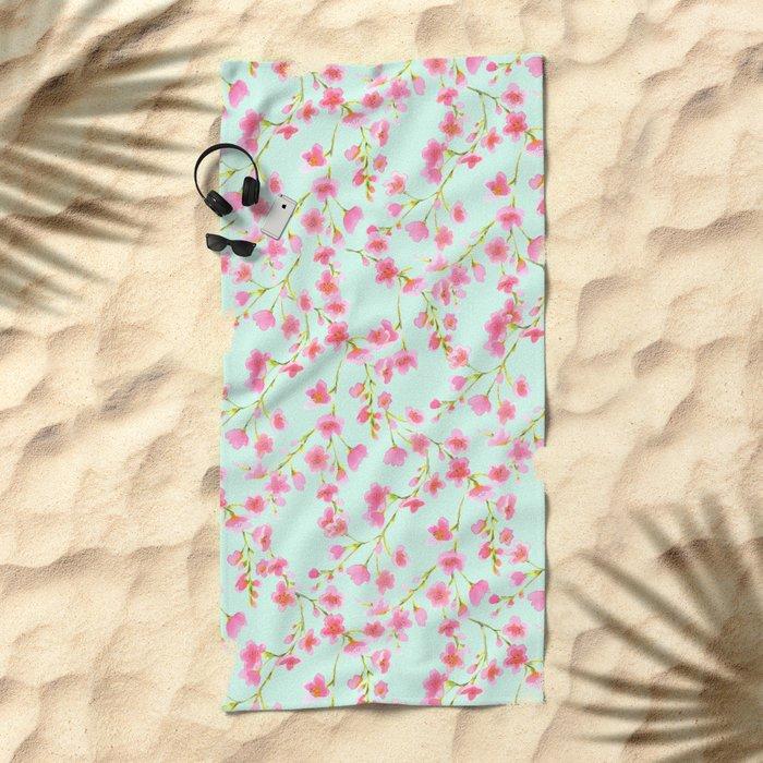 Cherry Blossom Pink Mint (for Mackenzie) Beach Towel