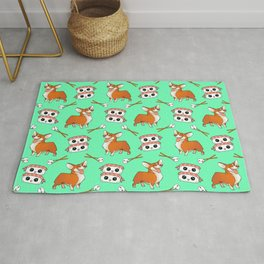 Cute cuddly funny baby corgi dogs, happy cheerful sushi with shrimp on top, rice balls and chopsticks pretty light pastel teal green pattern design. Rug