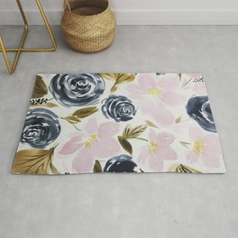Pink and Blue Watercolor Bouquet Rug