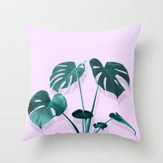 Monstera Palm on Musk Throw Pillow