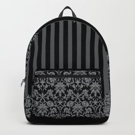 Black and Gray Floral Damask Pattern Backpack