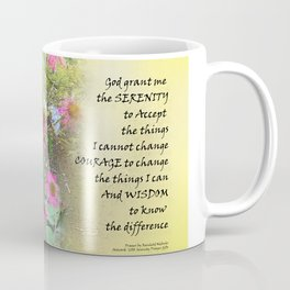 Serenity Prayer Pink Flowers on Yellow Coffee Mug