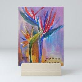 Strelitzia Tropical flowers Modern painting Mini Art Print