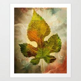 Silently Fall The Autumn Leaf Art Print
