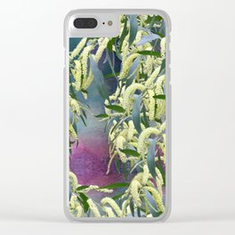 Wattle blooms in an abstract landscape Clear iPhone Case