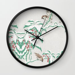 Sparrows in snow Wall Clock