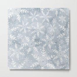 Snowflake pattern gray Metal Print