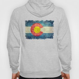 Colorado flag with Grungy Textures Hoody