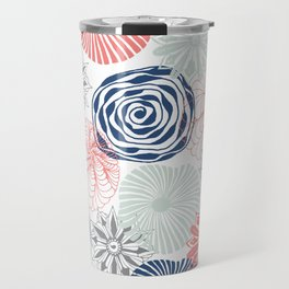Floral Pattern in Coral Red, Navy Blue and Aqua Travel Mug