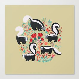 Cute Gang of Skunks Playing in the Garden Canvas Print
