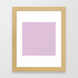 Antique White and Floral Lavender Chevron Stripes Framed Art Print
