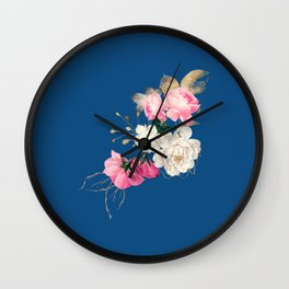 Roses on Classic Blue Wall Clock