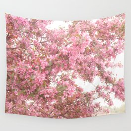 Shabby Chic Pink Blossom Spring Trees Nature Prints and Home Decor Wall Tapestry