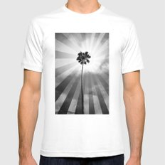 Palm Tree Retro SMALL White Mens Fitted Tee