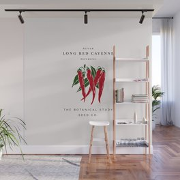 Botanical seed packet illustration - Cayenne pepper Wall Mural