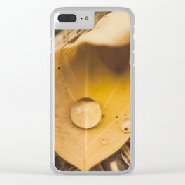 Yellow drop on a leaf Clear iPhone Case