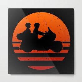 Retro Touring Motorcycle Couple Sunset Metal Print