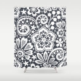 White Lace. Seamless Pattern. Shower Curtain