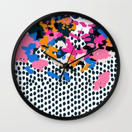 Kenzi - abstract painting minimal hot pink blue dots color palette boho hipster decor nursery Wall Clock