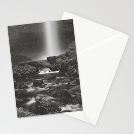 Latourell Falls Waterfall II - Black and White Stationery Cards