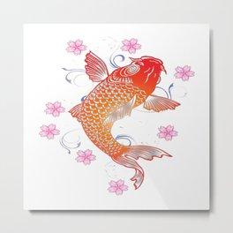 Koi Fish flower Metal Print
