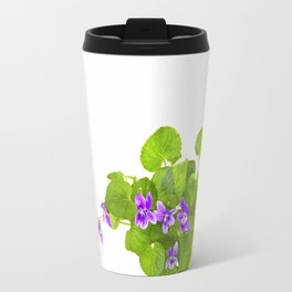 Bunch of Wild Violets Isolated on White Travel Mug