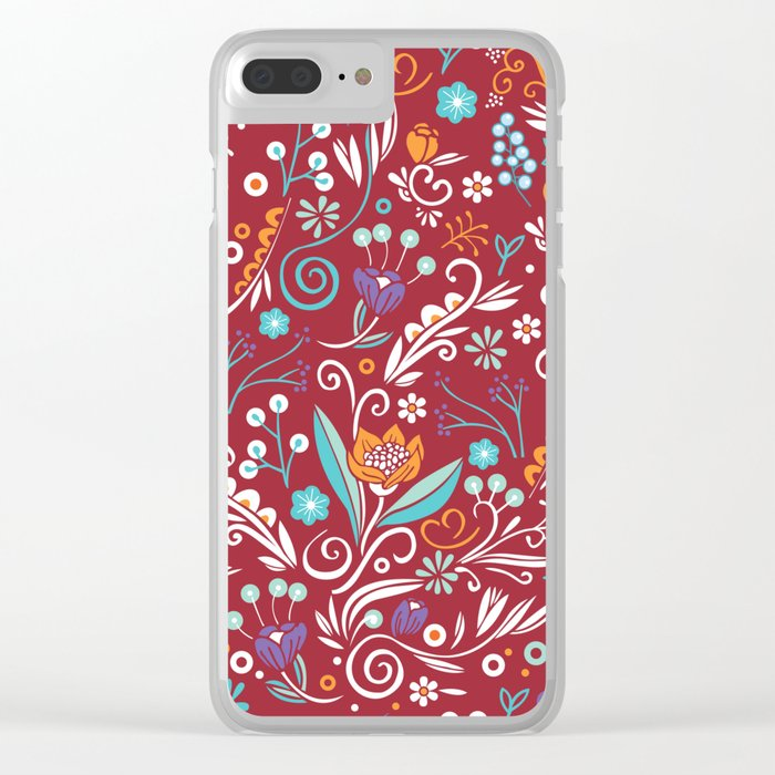 Flower circle pattern, red Clear iPhone Case