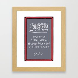 Burger of the Day, Zucchini Framed Art Print