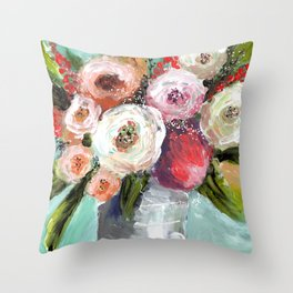 Peach and White Roses Throw Pillow